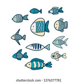 Set of colorfull fish. Vector hand drawn illustration