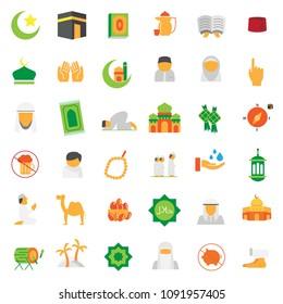 set of colorfull islamic icon, arabic, muslim, ramadan kareem, vector eps 10