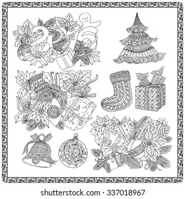 set for coloring book for adult and older children coloring page with pattern made of