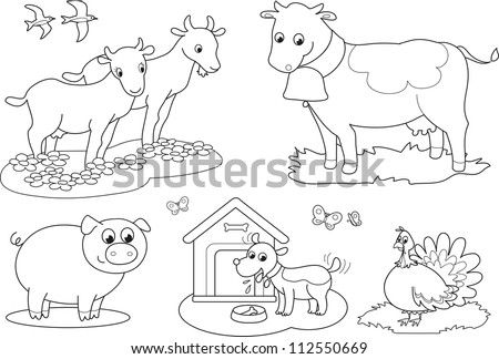 Set Coloring Farm Animals Children Goat Stock Vector (Royalty Free ...