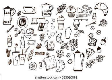 Set of colorless hand drawn coffee elements. Outlined elements. Coffee beans, cappuccino, espresso, cocktail, cups, mugs, dessert, cinnamon, buns. Vector illustration
