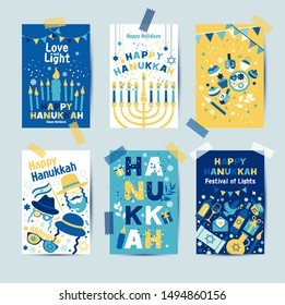 Set of colors six Hanukkah greeting cards with candles, dreidel, Jewish star, oil, menorah, donut, cupcake, confetti, letters. Layout for Festival of Lights invitation, Jewish greeting cards.