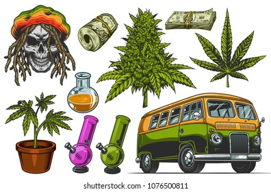 Set of colour cannabis objects isolated on white. Vector illustration.