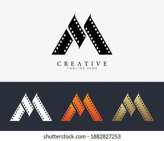 Set of colour letter M logo for strip film vector illustration