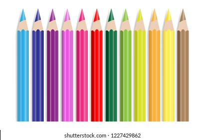 Set of colour pencils in row isolated on white background, Vector illustration