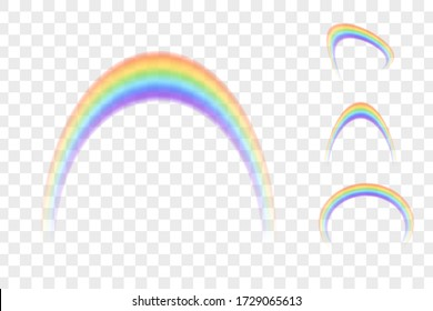 Set of colour rainbows isolated on transparent background. Vector illustration