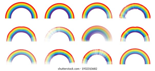 Set of colour rainbows. Symbol of LGBT pride. Simple flat style. Vector illustration isolated on white background.