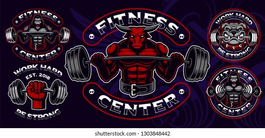 Set of coloured badges, logos, shirt prints for gym theme, with different characters such as a gorilla, bull, bulldog and other. Text is on the separate group and easy removable.