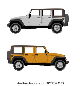Set of coloured grey and yellow big jeep without a shadow