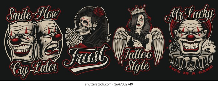 Set of  coloured illustrations in chicano tattoo style.Perfect for posters, apparel, shirt prints and many other uses. Text is on the separate group.