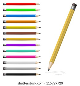 Set of Coloured pencils. Illustration on white background