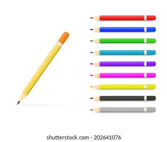 Set of Coloured pencils. Illustration on white background