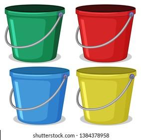 Set of colourful bucket illustration