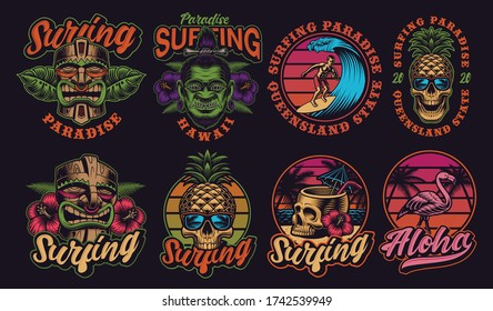 Set of colourful Hawaii surfing illustrations. These vector are perfect for logos, shirt prints and many other uses as well.