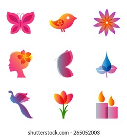 Set of colourful icons for spa, cosmetics, beauty