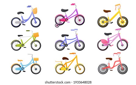 Set of colourful kids bicycle, healthy lifestyle objects, children bikes, transport for travel, toys for child in cartoon style on white background