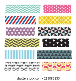 Set of colourful patterned washi tape strips