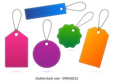 Set of colourful price tags with shadow on white