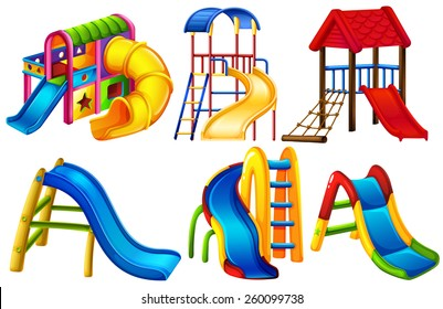 Set of colourful slides on a white background