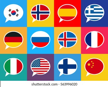 Set of colourful speech bubbles with different countries flags in flat design style. Languages concept illustration.