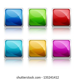 Set of colourful square glass botton, vector illustration