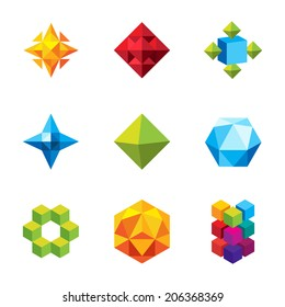 Set of colourful unique geometry icons and vector forms, beautiful business companies logo