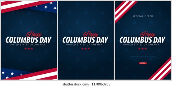 Set of Columbus Day sale promotion, advertising, poster, banner, template with American flag. Columbus day wallpaper. Voucher discount
