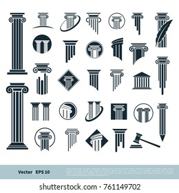 Set Column Pillar Icon for Legal, Attorney, Law Office Logo Vector Template