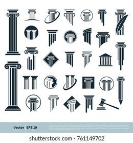 Set Column Pillar Icon for Legal, Attorney, Law Office Logo Vector Template