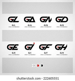 Set of Combinations of Letters G and L, A, N, D, E, I, F, H. Abstract Vector Logo Design Template. Creative Concept Icon