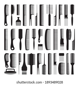 Set of combs. Black silhouettes of various combs on a white background. Device for combing and styling hair. Hairdressing tool. Vector illustration isolated on white background for design and web.