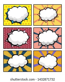 set of comic book, pop art with blank speech bubble for background vector illustration