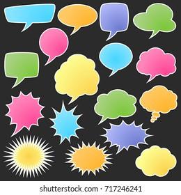 Set of comic bubble stickers