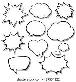 Set of comic bubbles. Blank empty speech bubbles for infographics vector illustration