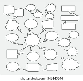 A set of comic bubbles and elements on grey background