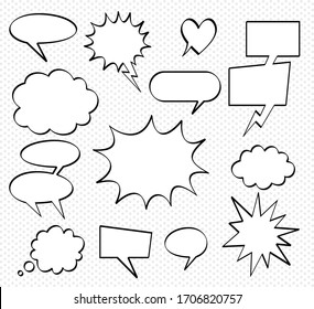 A set of comic bubbles and elements with transparent background. Comic dialog empty cloud, space text.