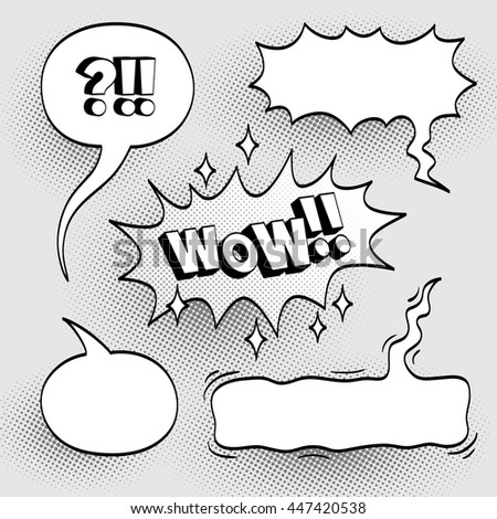 set comic bubbles sound effects halftone stock vector royalty free