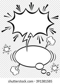A set of comic bubbles speech and elements.