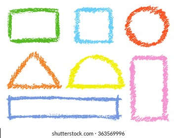 Set of comic colorful design elements. Crayon chalk hand drawn frames. Group of funny red, blue, yellow, pink vector copy space. Round, square, triangular kids drawing frames.