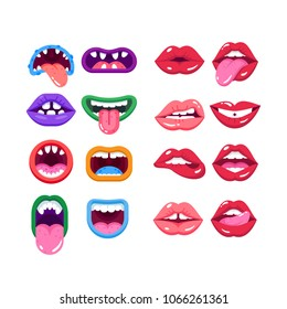 Set of comic monster mouth with teeth, realistic human woman lips. Cartoon monster mouth with emotions, teeth, tongue. Parts face of characters, mystical creatures, real people. Vector illustration.