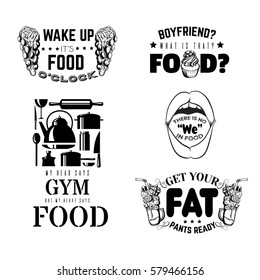 Set of comic quote typographical background about food. Hand drawn illustrations of sweets and icons of kitchen stuff. Template for card, poster, banner, print for t-shirt.
