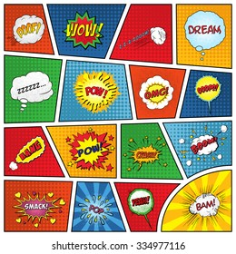 Set of comic sound effects. Vector EPS10 illustration.