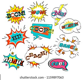 Set of comic speech bubble with inscription: boom, wow, what, bang, omg, aah, boom, crash, hi, cool. Collection of vector cartoon explosions and clouds. EPS8