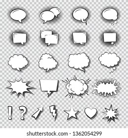 Set of Comic Speech Bubbles. Cartoon Flat Vector Illustration.