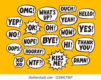 Set of comic speech bubbles. Chat, communication concept. Vector illustration