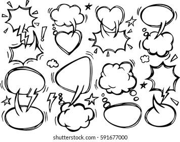 A set of comic speech bubbles and elements , hand drawn speech bubble.