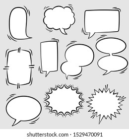Set of comic speech bubbles. Empty comic speech ballons and elements in retro vintage and pop art style.