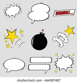 Set of comic speech bubbles, explosions and stars, Vector illustration