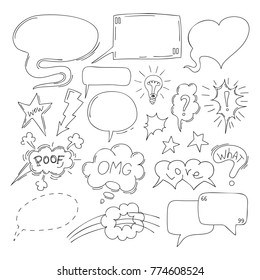 Set of comic speech bubbles. Hand-drawn, vector illustration.