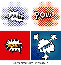 set of comic speech bubbles on colored backgrounds. Vector illustration